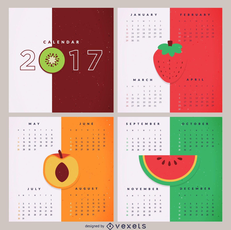 Calendar Design Free Vector : Colorful fruit calendar vector download