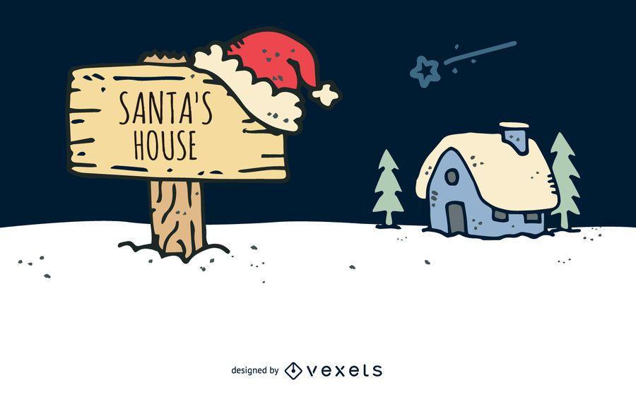 Hand drawn Santa house