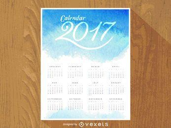 Calendário de aquarela de 2017