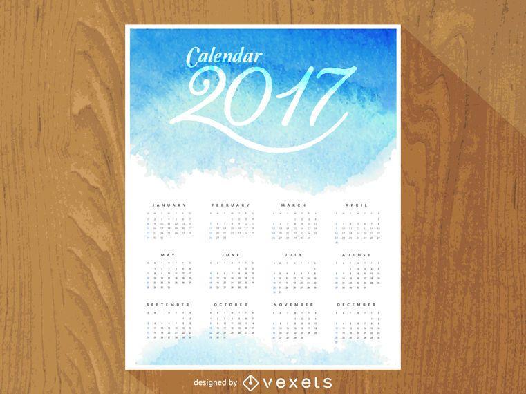 2017 watercolor calendar