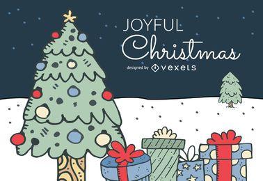 desenhado mão paisagem projeto do Natal