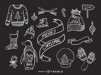 Elementos de la Navidad doodles conjunto