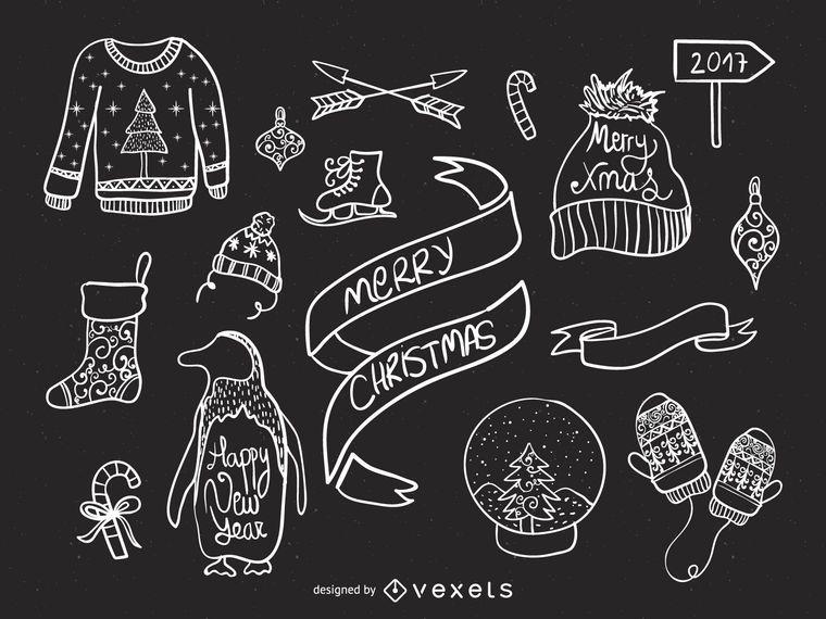 Christmas elements doodles set