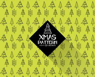 patrón del doodle del árbol de navidad