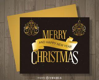 Cartão de Natal dourado e preto
