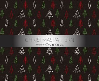 Christmas trees doodles pattern
