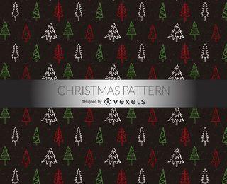 Patrón de garabatos de árboles de Navidad