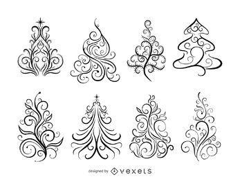 Wirbel dekorative Weihnachtsbäume