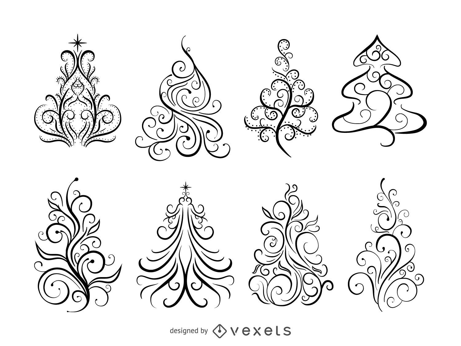 Swirl Ornamental Christmas Trees. Download Large Image 1601x1201px