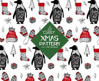 Projeto de padrão de Natal de elementos ilustrados