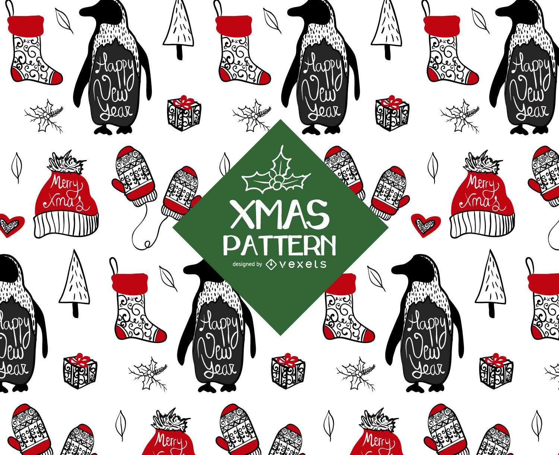 Elementos ilustrados diseño de patrón navideño.
