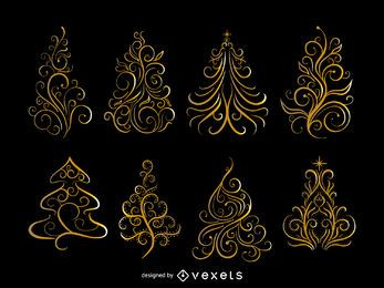 Golden swirls Christmas tree set