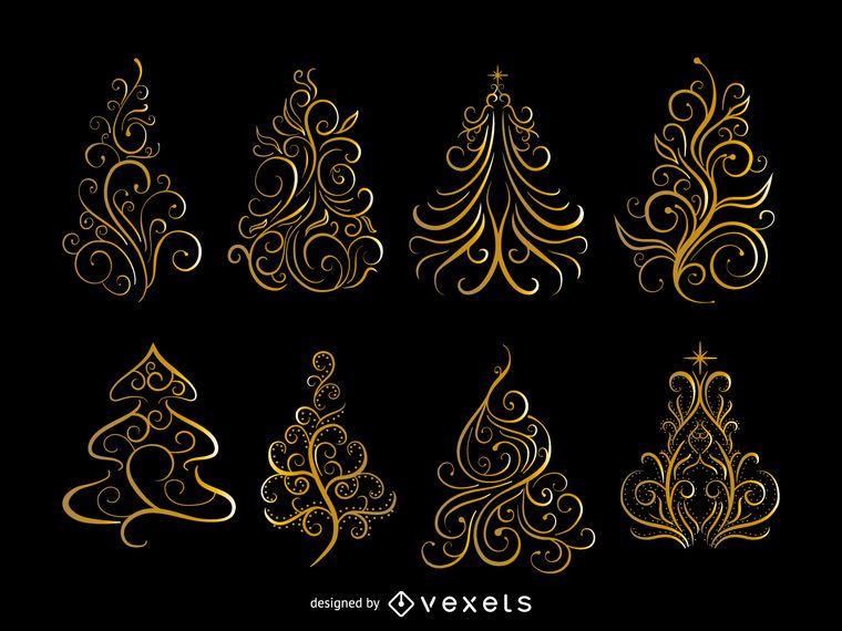 Set de arbolitos dorados de navidad