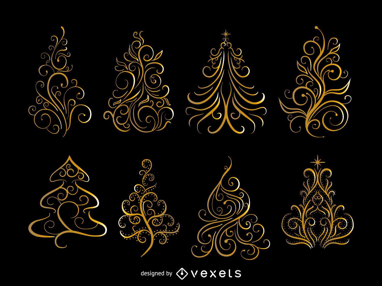 Conjunto de ?rbol de Navidad de remolinos dorados