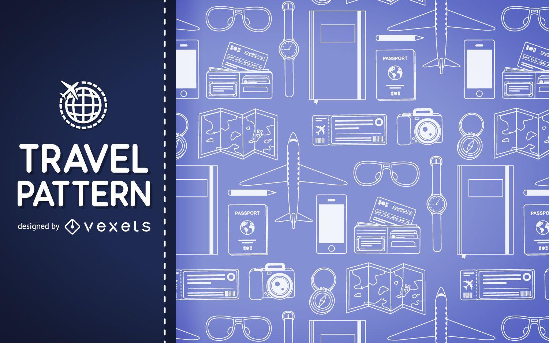 Fondo de patrón de elementos de viaje