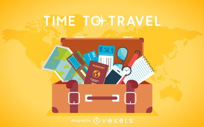 Flat travel luggage background