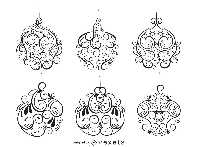 Christmas ornament swirl illustration set