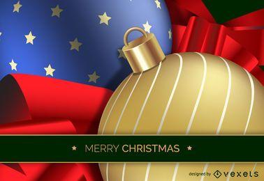 Diseño de bola de Navidad 3D realista
