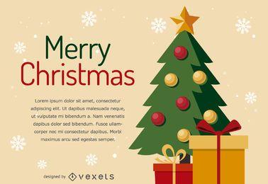 Design de cartão de árvore de Natal plana