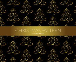 Golden Christmas tree pattern
