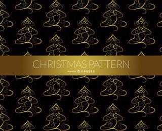 Patrón de oro del árbol de navidad