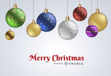 Adornos de Navidad diseño de telón de fondo
