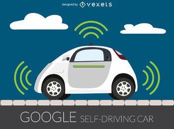 Ilustración de coche autónomo