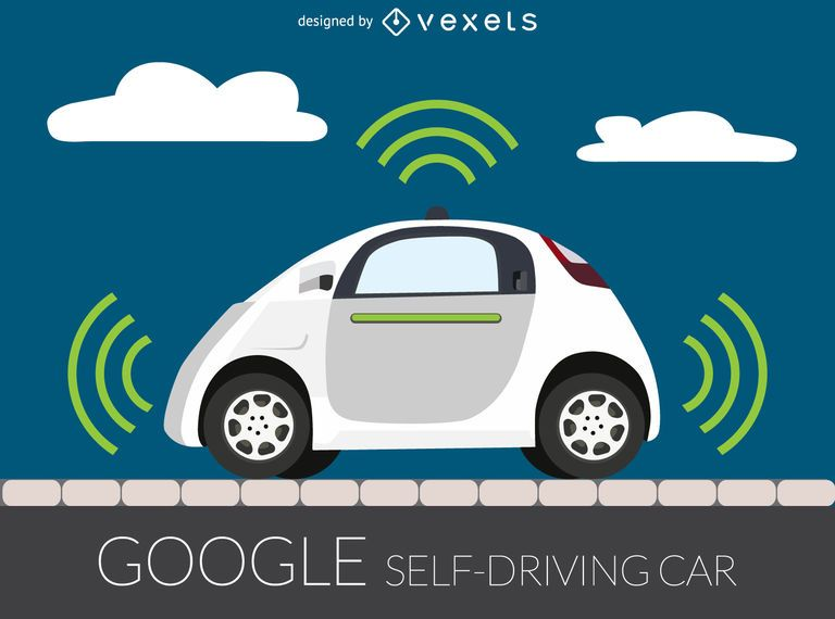 Self driving car illustration