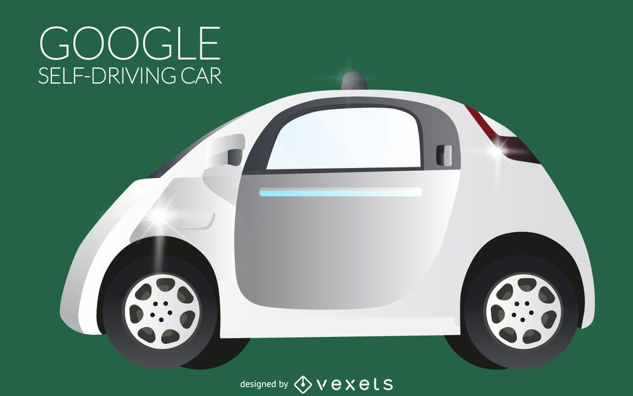 Isolated self-driving car illustration