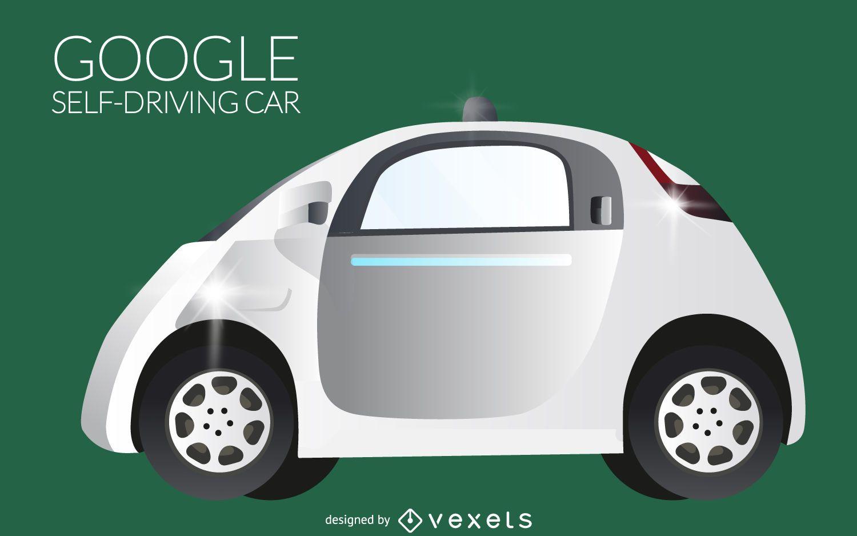 Ilustración de coche autónomo aislado