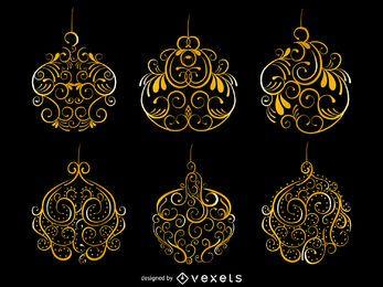 Conjunto de adornos de Navidad de oro remolinos