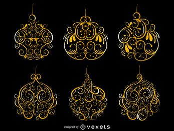 Golden swirls Christmas ornament set