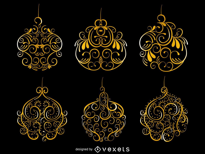 Remolinos de oro conjunto de ornamentos de navidad - Ornamentos de navidad ...