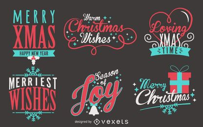 Beschriftung Weihnachtsetikett gesetzt