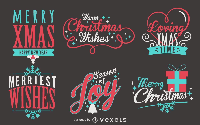 Lettering Christmas label set