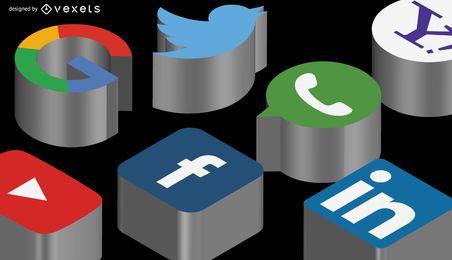 cabecera de los medios sociales isométrica