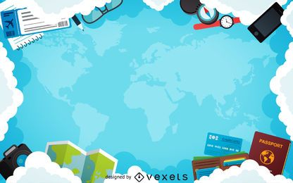 Flat travel plane frame background
