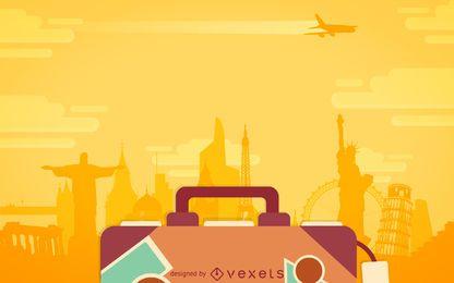Cenário de bagagem de viagem plana