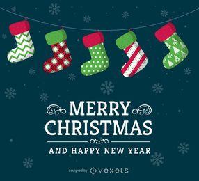 Design de cartão de meias de Natal