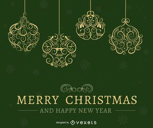 Green Christmas card design