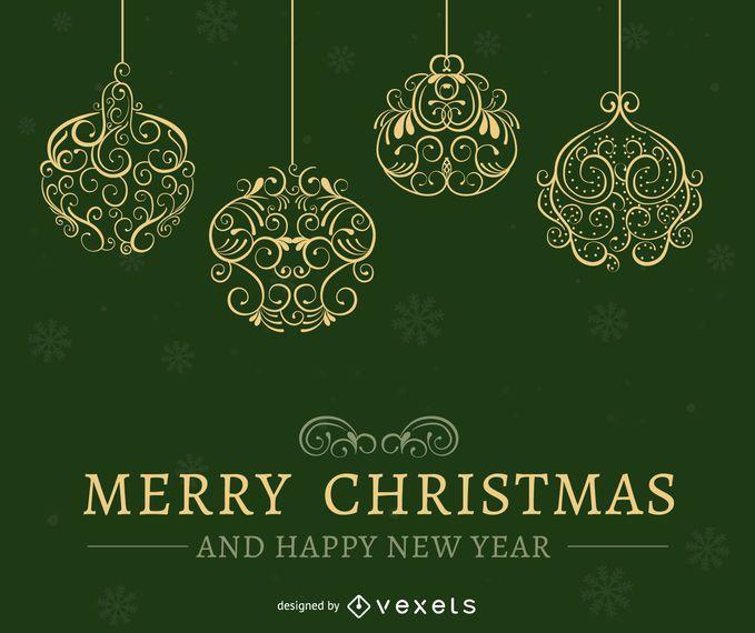 Green Christmas card design
