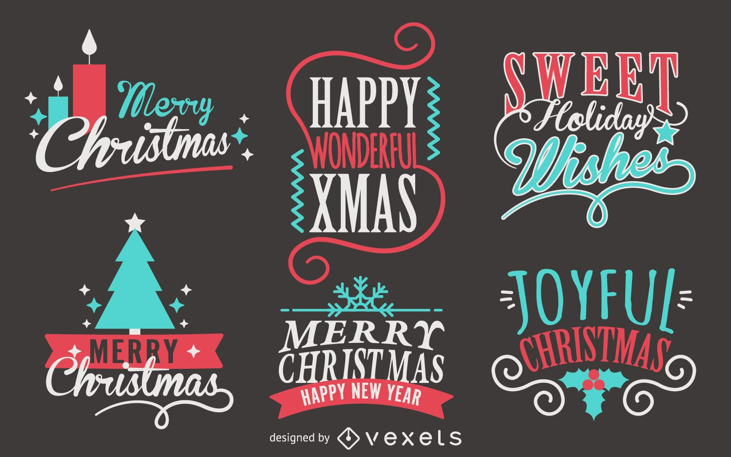 Lettering Christmas Label Collection Vector Download