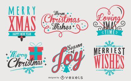 Paquete de etiquetas de Navidad de letras