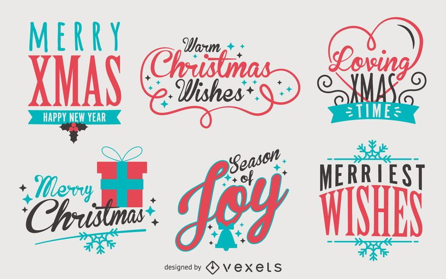 Lettering Christmas label pack