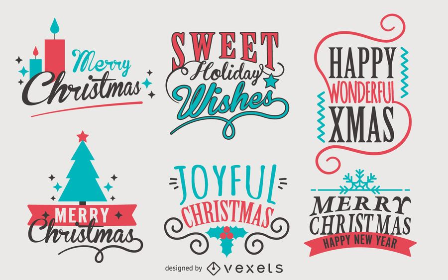 Conjunto de etiquetas de Natal de caligrafia