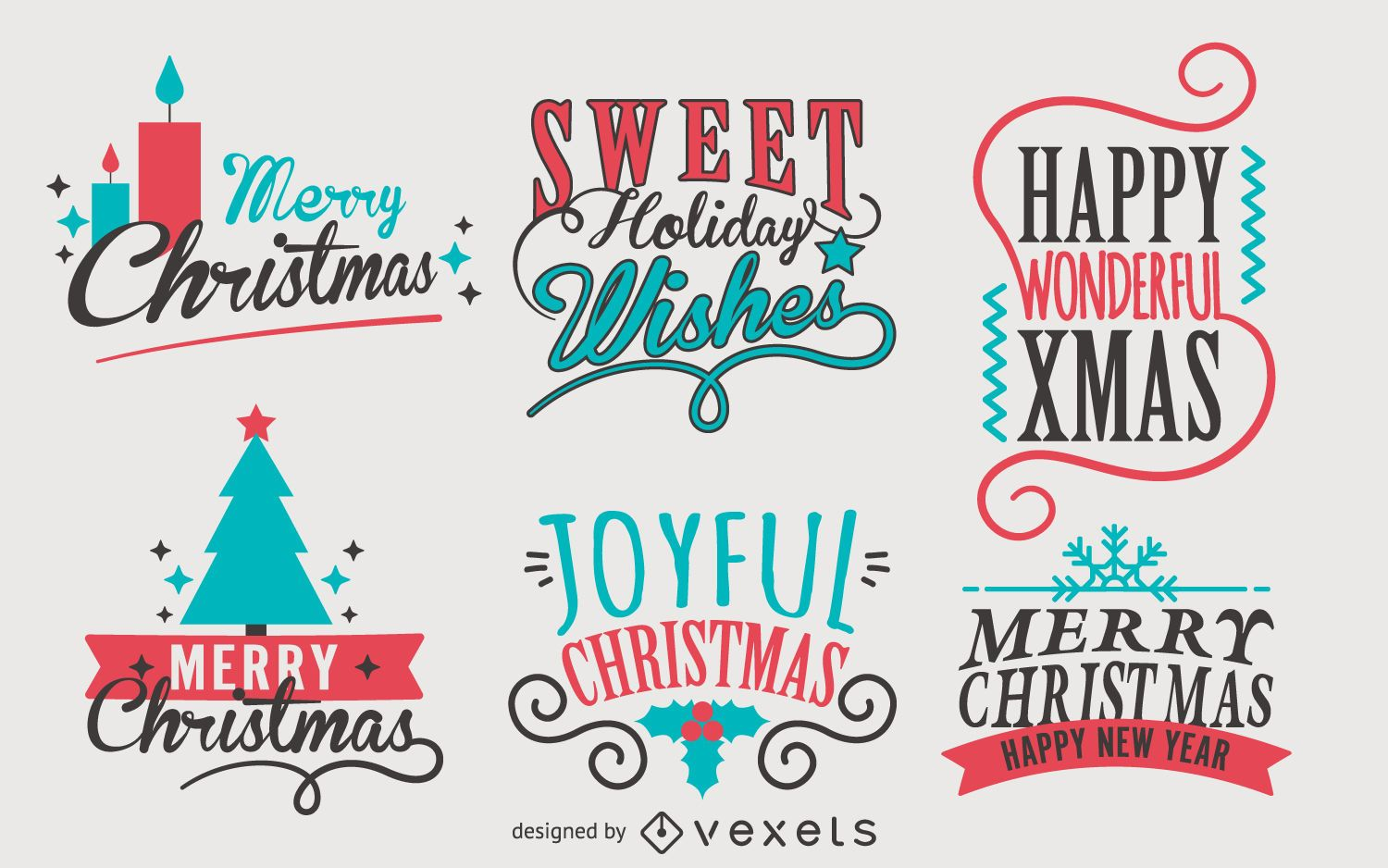 Christmas Calligraphy.Calligraphy Christmas Label Set Vector Download