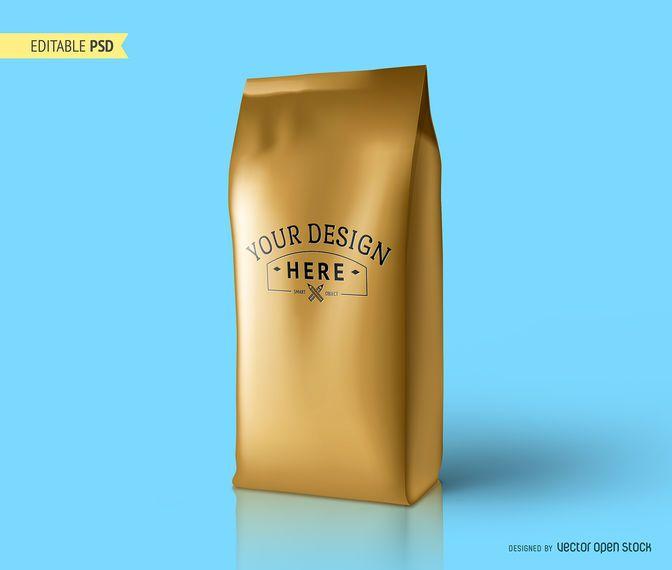 Maqueta de envasado de café PSD