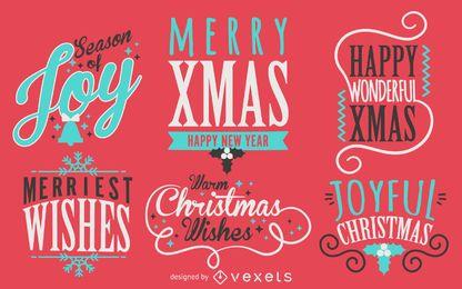 Coleção de etiquetas de Natal de caligrafia