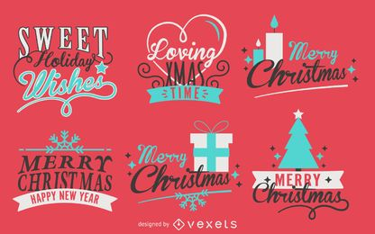 Calligraphy Christmas label pack