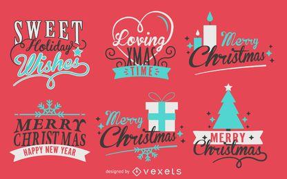 Pacote de etiqueta de Natal de caligrafia